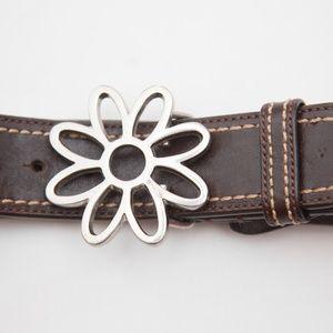 Coach Flower buckle belt Leather Medium